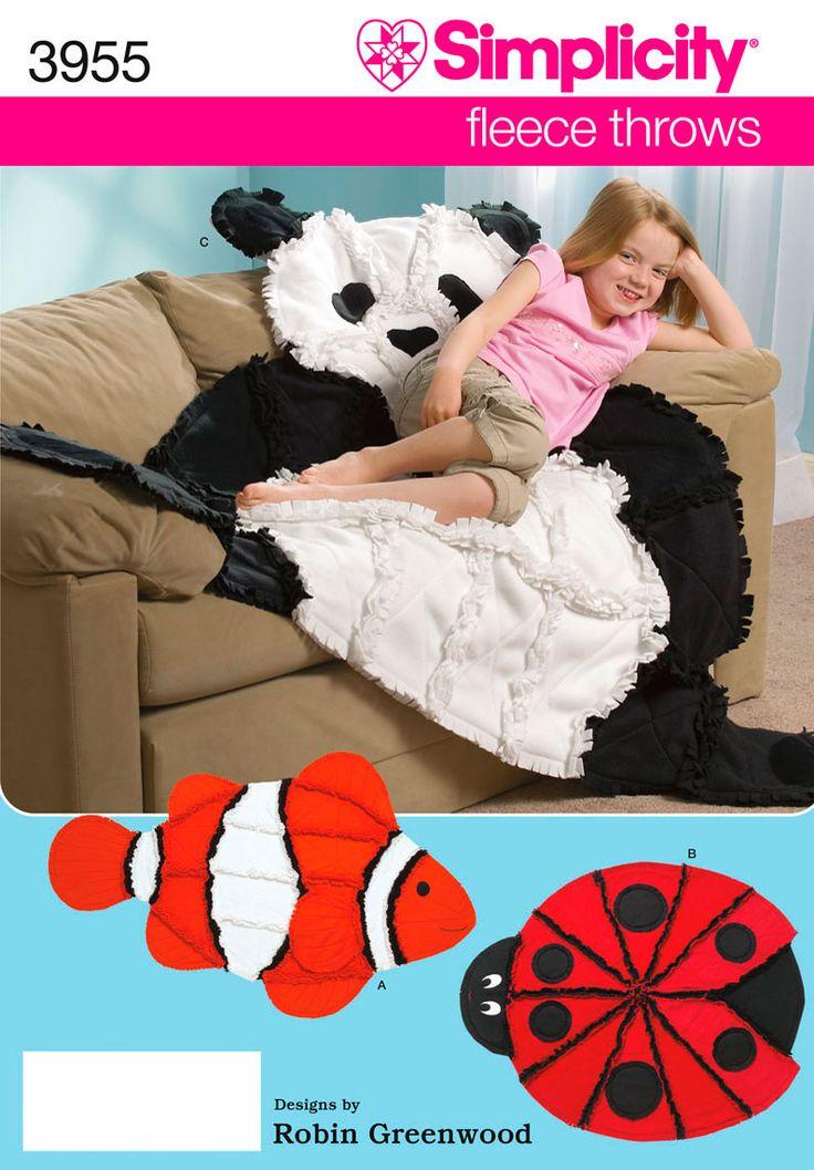Simplicity : 3955  rag quilts: panda bear, clown fish nemo, ladybug