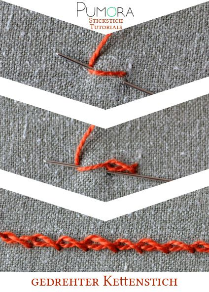 Pumora's Lexikon der Stickstich: gedrehter Kettenstich Tutorial