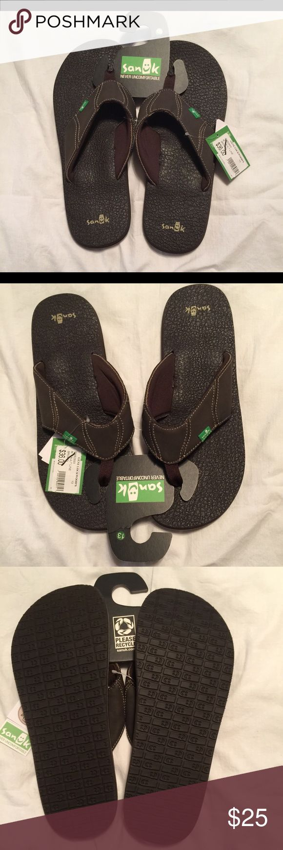 Men's Sanuk Flip flops Brown with yoga mat soles. So comfortable. BNWT! Sanuk Shoes Sandals & Flip-Flops
