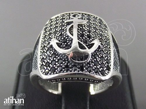 MENS ONYX RING WITH ANCHOR MOTIF 925 STERLING SILVER US SIZE 7 TO 10.5 HANDWORK in Jewelry & Watches | eBay