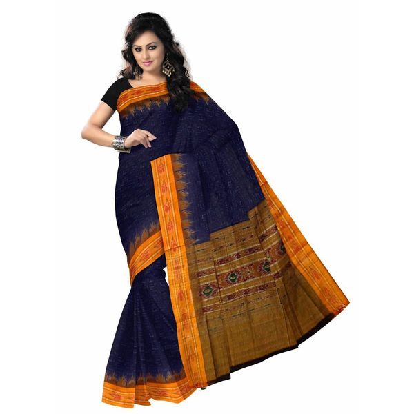 Navy blue with yellow colour Handloom cotton saree of Odisha. It gives you a smart & stunning look. This saree was made by pure cotton thread.