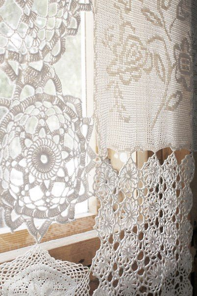 Upcycle doilies and crochet mats into a sheer curtain