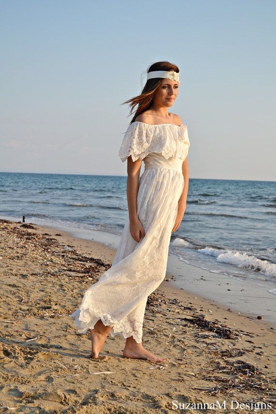 70s Bohemian Wedding Dress Ivory Lace Vintage by SuzannaMDesigns