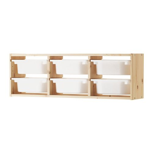 IKEA TROFAST Wall storage Pine/white 93x21x30 cm A playful and sturdy storage series for storing and organising toys.