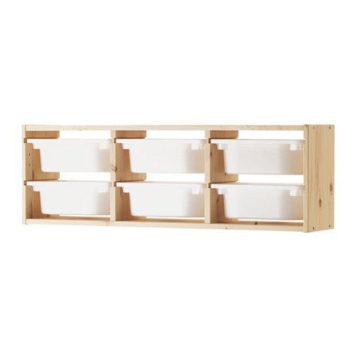 IKEA - TROFAST, Elemento da parete, pino/bianco, , Una serie allegra e resistente che ti permette di tenere in ordine i giocattoli.Pratico contenitore per i piccoli oggetti.