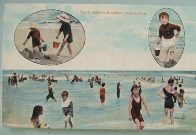 Paipo Postcard, bodyboarding Muizenberg South Africa ca. 1908 'The children's paradise'