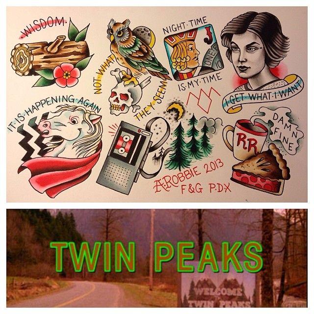 Twin Peaks tattoo flash by Alana Robbie in Portland, OR. www.alanatattoos.com  (at Freaks And Geeks Tattoo)