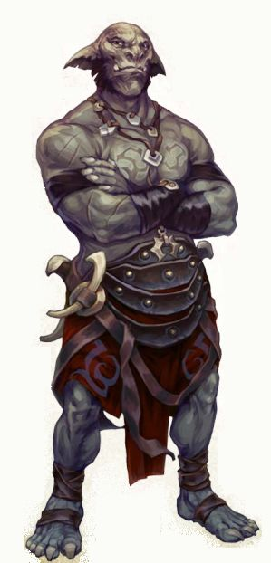 Paige: I like this orcs humanoid body structure; yet he looks very tribal at the same time. I am liking the idea that our character should wear clothing, or armour.