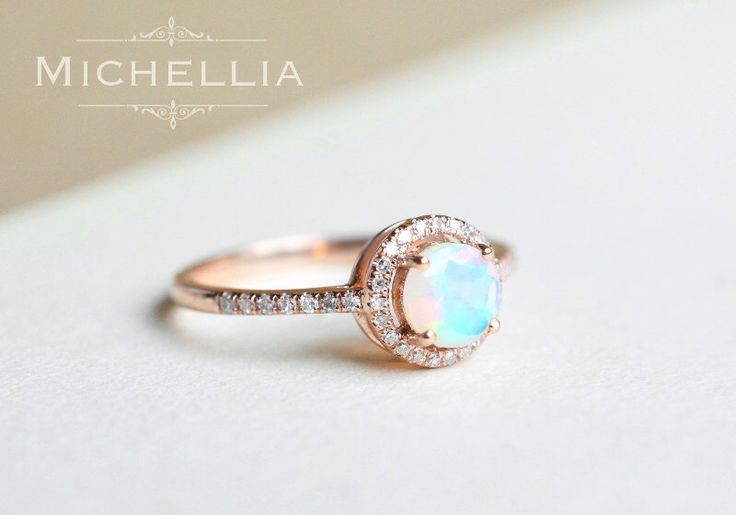 14K/18K Opal Engagement Ring with Halo Diamond, Solid Gold Ethiopian Fire Opal Promise Ring, Rose Gold Yellow Gold White Gold, Natural Opal by MichelliaDesigns on Etsy https://www.etsy.com/listing/288884685/14k18k-opal-engagement-ring-with-halo