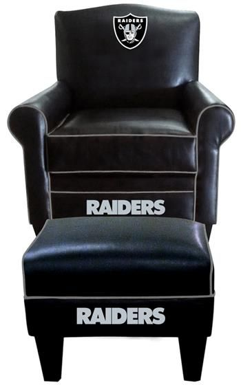 Delicieux Oakland Raiders Leather Game Time Chair And Ottoman At  Www.SportsFansPlus.com | Dream Home Ideas | Pinterest | Oakland Raiders,  Nice And Chairs