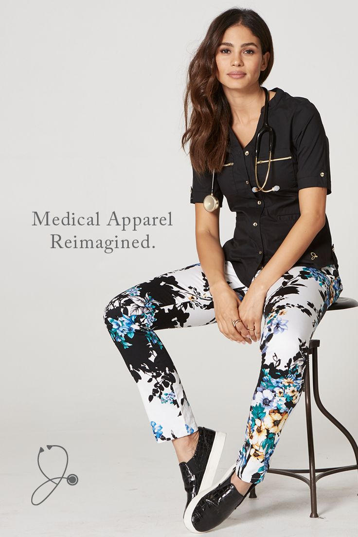 Premium anti-microbial fabric, contemporary, flattering silhouettes, and our signature gold detailing ... your days spent in scrubs will never be the same. Free shipping and free returns on every order.    Featured here: The Button Down Top (Black) & The Skinny Pant (Garden Party).