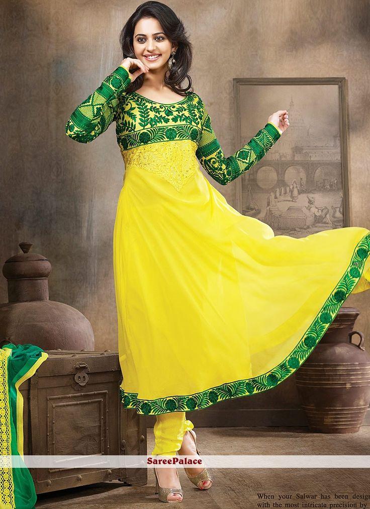 Green Yellow Sahded Faux Georgette Anarkali Suit