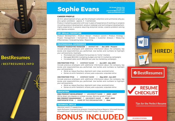 Resume Template Sophie Evans - Best Resumes