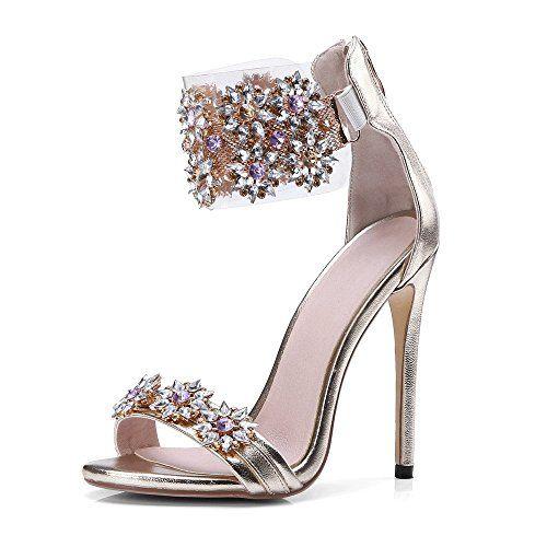 9fa025b4660ce JF Womens Rhinestone Flower Crystal Peep Toe Wedding Dress High Heel ...