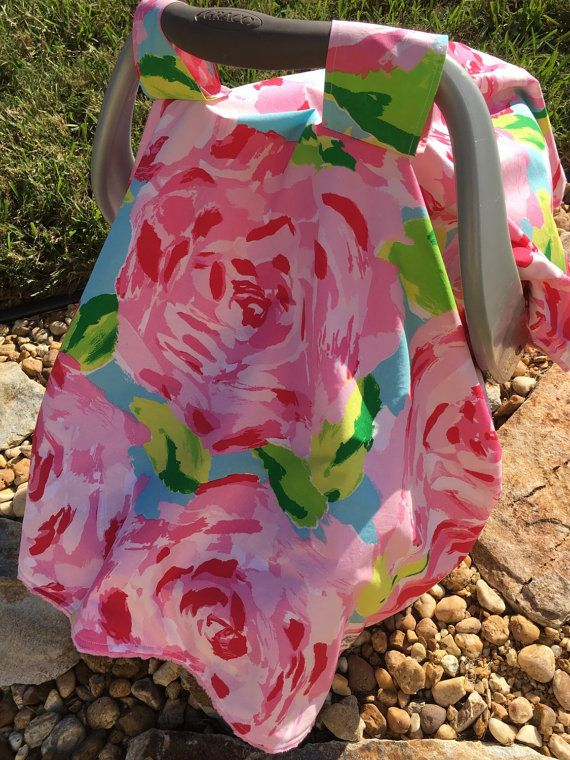 Lilly Pulitzer Car Seat Canopy  Baby Girl Car by SweetBabyBurpies