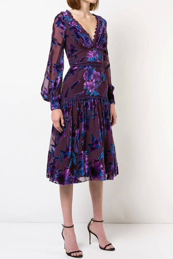 bc58f13566f Marchesa Notte Purple Printed Velvet Burnout Cocktail Midi Dress ...