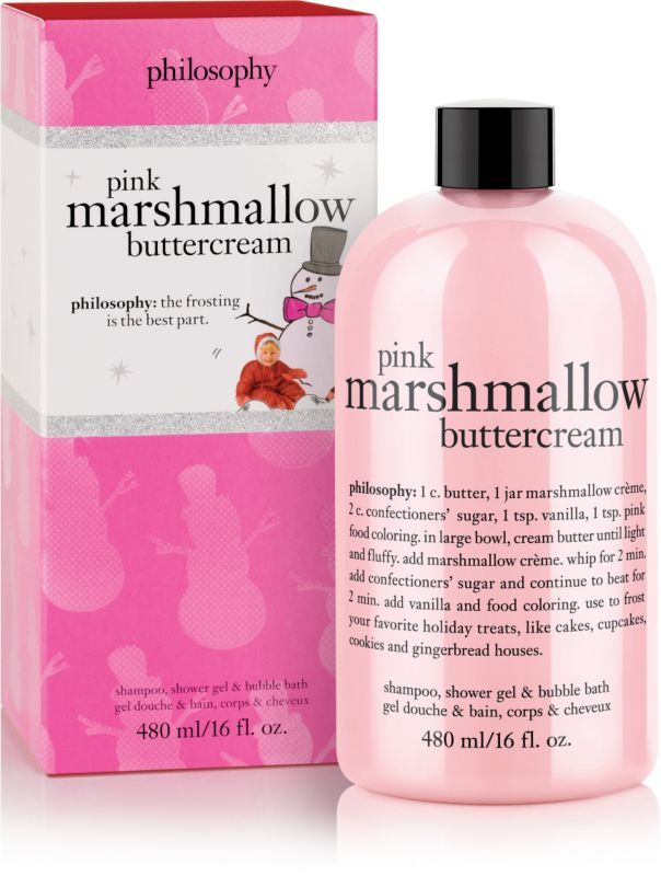 Philosophy's Pink Marshmallow Buttercream Shower Gel will leave you feeling divine and in the pink, no matter which color you're wearing!.