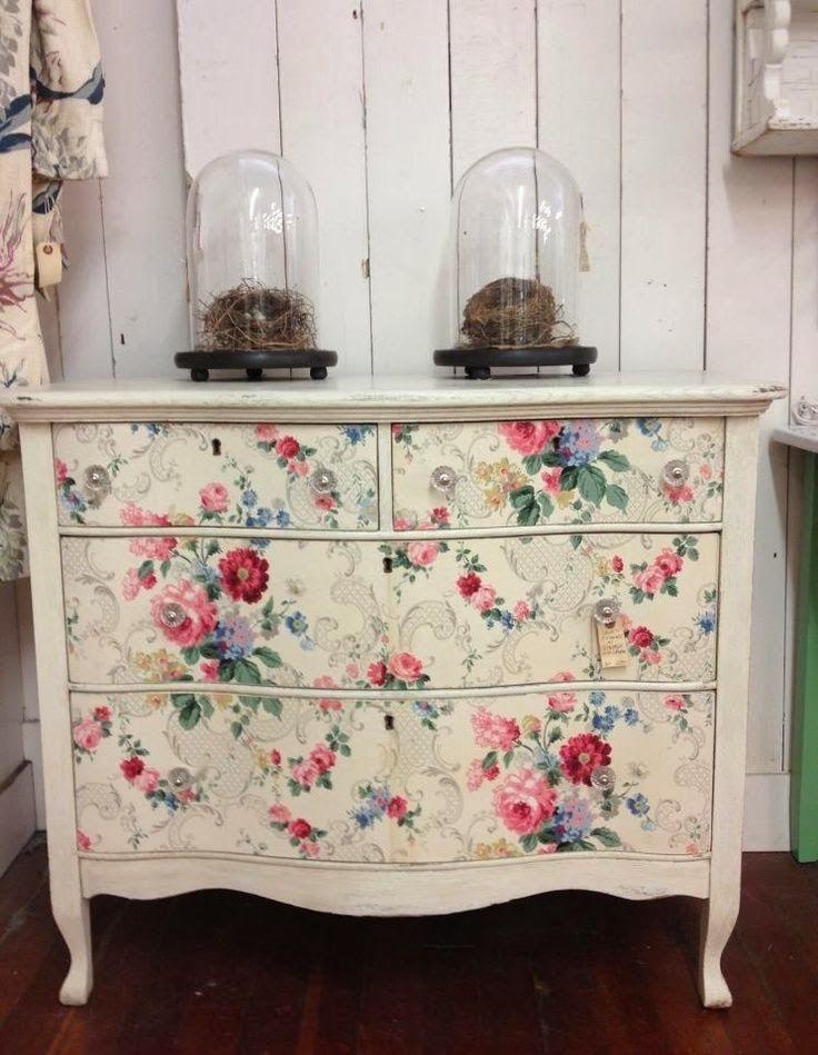 vintage wallpaper covered dresser