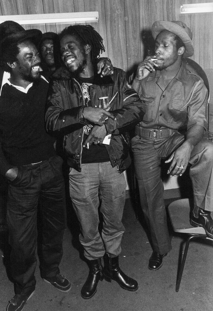 Junior Delgado, Dennis Brown, and Castro Brown in London photographed by Janette Beckman, 1979
