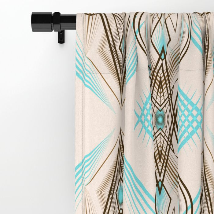 Art Deco Turquoise Brown White Window Curtains Curtains Art
