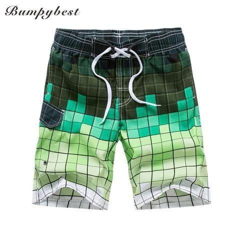 Bumpybeast 2018 Summer mens beach shorts fashion shorts men loose plaid board sh…