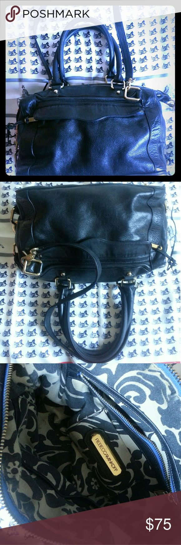 Black leather purse Satchel shoulderbag Really nice bag.  Carry as satchel or on shoulder.  Doctor bag.  Has normal wear on corners and throughout but nothing gross or drastic.  Just normal wear from use.  Very clean. Rebecca Minkoff Bags