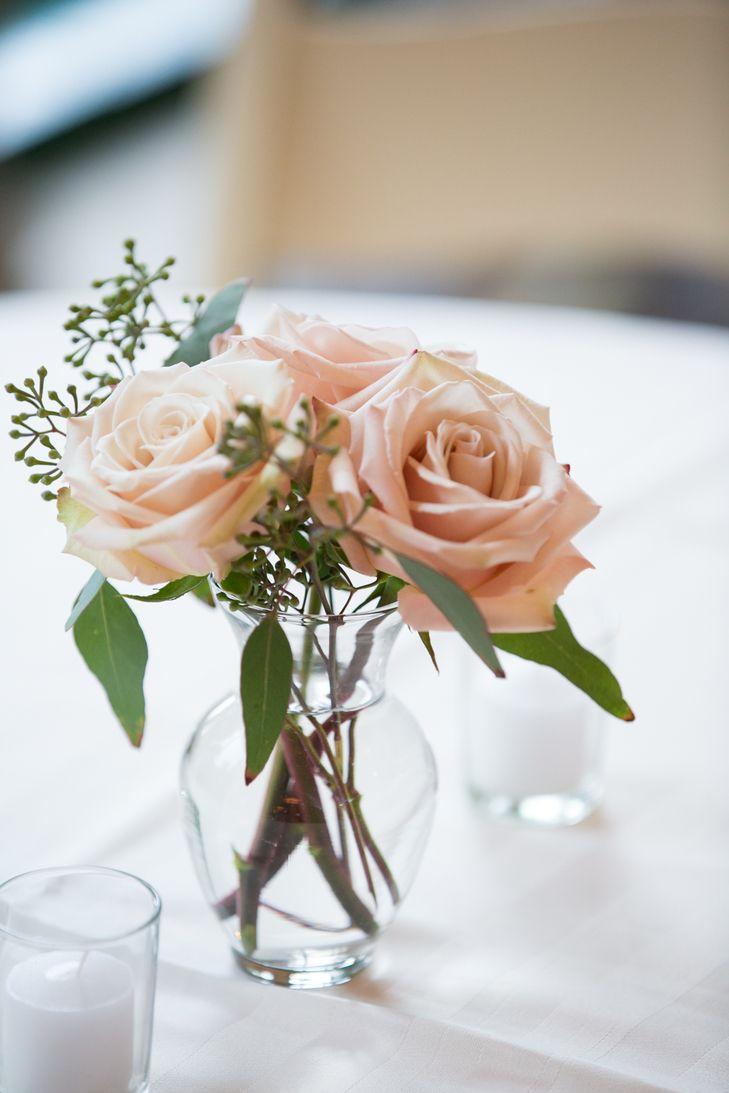 Simple Blush Rose Flower Arrangement   Sara Wight Photography https://www.theknot.com/marketplace/sara-wight-photography-brooklyn-ny-239955   Forever in Bloom