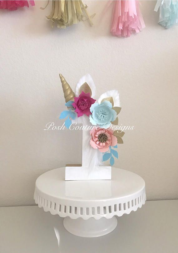 Unicornio Floral centro de mesa / número Floral unicornio
