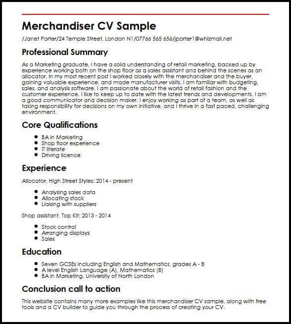 merchandiser cv sample