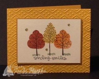 hand stamped fall greeting cards, Stampin'Up! Totally Trees, birthday card, thank you card, thinking of you cards, sending smiles
