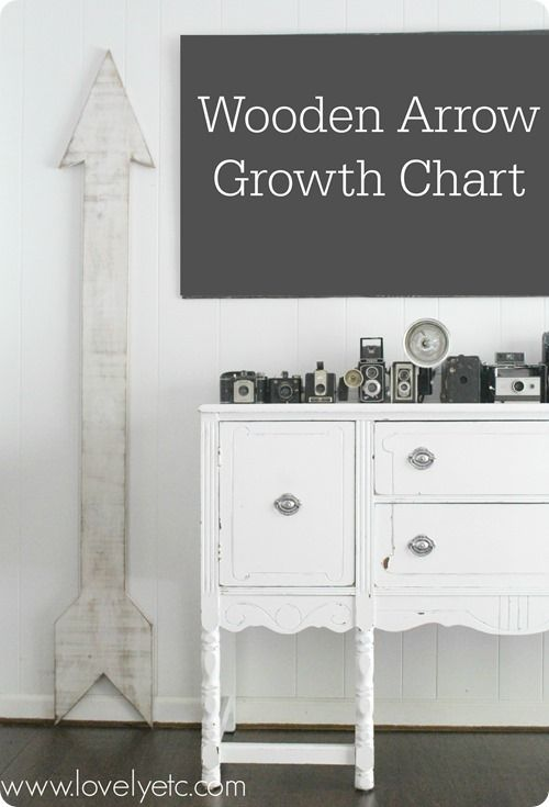 DIY oversized wooden arrow growth chart - easy to make and looks great in any room in your house.  Pinned over 25,000 times!