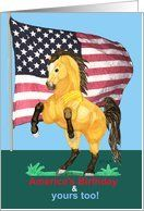 Fourth of July Birthday Buckskin Horse Card by Greeting Card Universe. $3.00. 5 x 7 inch premium quality folded paper greeting card. Birthday cards for the whole family are available at Greeting Card Universe. Do something special this year with a paper card. Allow Greeting Card Universe to handle all your birthday card needs this year. This paper card includes the following themes: horse, equine, and pony. General cards from Greeting Card Universe can make their birthday mem...