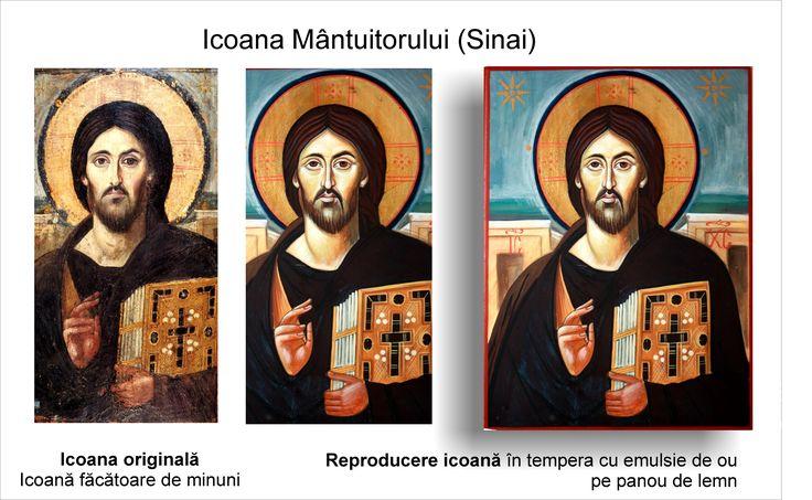 Mântuitorul Sinai copie icoană pe lemn Iisus din Sinai reproducere pictură tradițională bizantină  ortodoxă icoană originală lucrare de artă iconografică pictură în tempera pe lemn pictată de pictorul Călin Bogătean un urmaș al vechilor iconari pictor profesionist membru al Uniunii Artiștilor Plastici icoană pe lemn cu Iisus pictură pe lemn cu Mântuitorul Iisus Hristos din Sinai