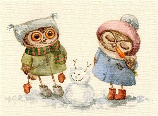Inga Paltser - Инга Пальцер - Owls and Snowman