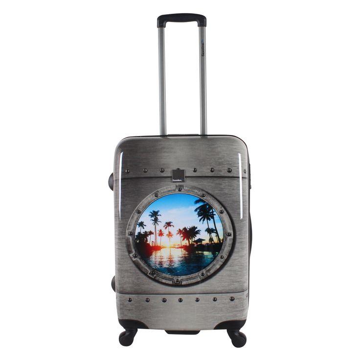 Mittelgroßer #Koffer Saxoline Blue #Porthole bei Koffermarkt: ✓Bullaugen-Motiv mit Palmenstrand ✓4 Rollen ✓TSA-Schloss ✓Hartschale ⇒Jetzt kaufen