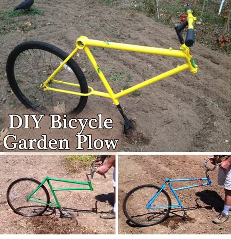 DIY Bicycle Garden Plow - Convert an old used bicycle into a functional homemade garden plow or cultivator.