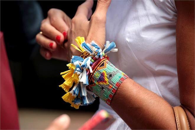 Viviana Volpicella (Detail) during the Men Fashion Week wearing STL Made in italy Bracelets.De venta en www.mache.mx