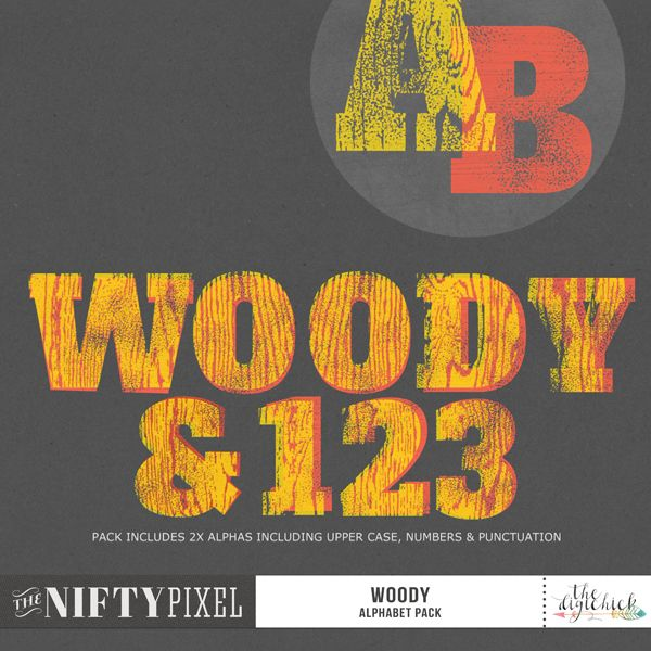 WOODY | Alpha Pack I love woodblock printing and thought this bold typeface would be a great one to use for a woodblock style alpha pack. This versatile set includes two alphas so you can use them seperately or overlay them to create a third variation.  DESIGNERS TIP: Try clipping papers to them for patterned styles or simply change out the colours to suit your needs.   DOWNLOAD INCLUDES:  2X Alpha Sets in Woodgrain and Stamped Versions. Includes [A-Z] + [0-9] & [Punctuation] 2X Alpha sheets