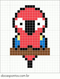 Doces Pontos: Parrot perler bead pattern