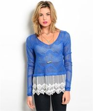 BLUE /IVORY LACE SWEATER