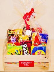 SORORITY GIRL CANDY CRATE with PINK RHINESTONE PEN / Gift Basket