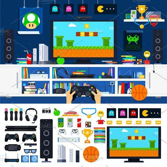 Gamer room interior by Mountain Brothers on Creative Market –  – #GamerRoom|DIY