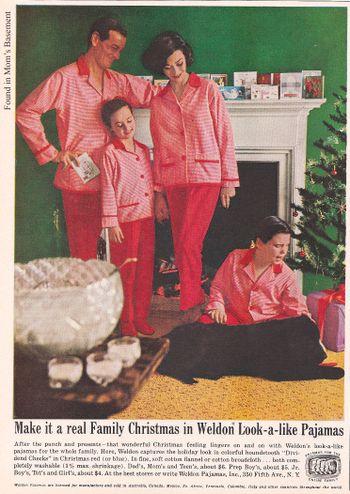 Vintage Christmas Magazine Ad ~ Weldon Pajamas ©1960