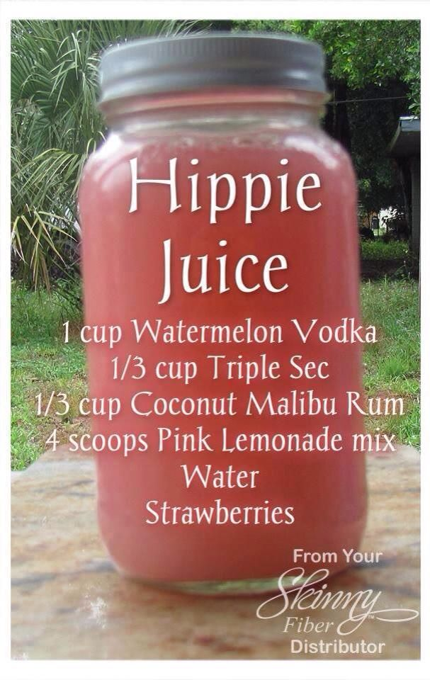1 quart mason jar 1 cup Watermelon Vodka 1/3 cup Triple Sec 1/3 cup Coconut Malibu Rum 4 scoops Pink Lemonade mix Water (enough water to fill the jar up AFTER adding all the other ingredients) Strawberries Mix it up in a Mason jar and ENJOY!