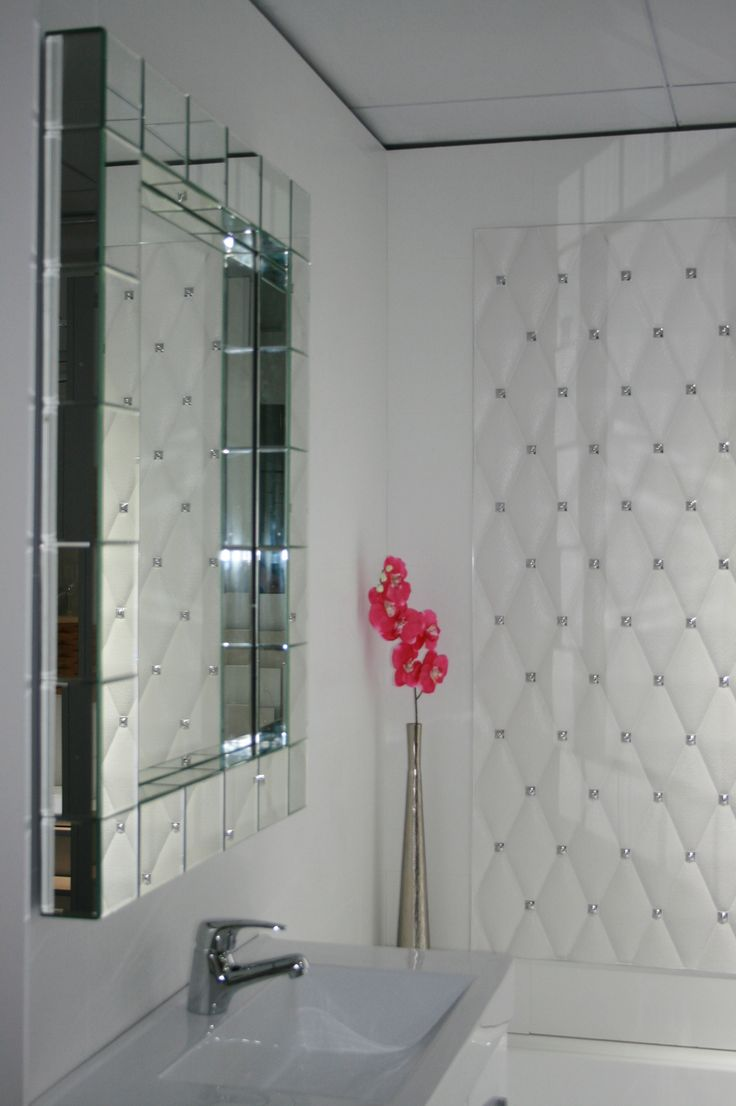 White diamond wall tile. Perfect luxury feel for feature bathroom wall.
