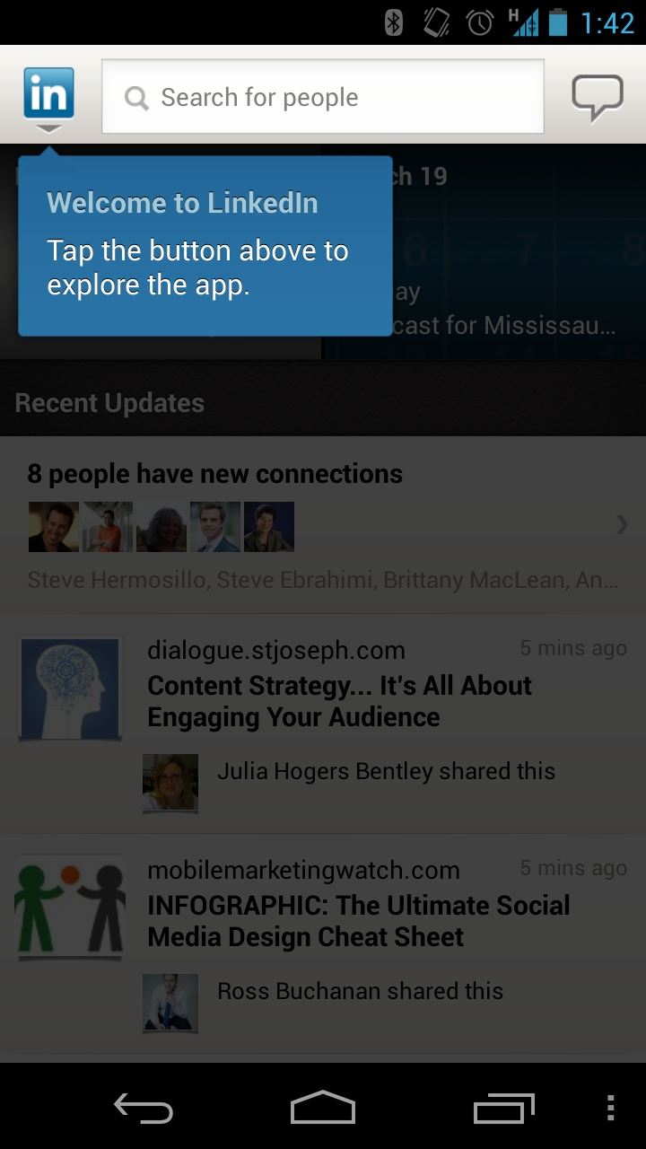 Educational moment in LinkedIn on Android.