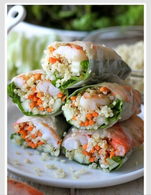 Yummy seafood rice paper rolls!