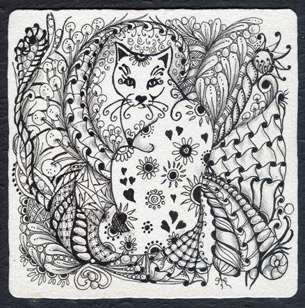 zentangle cat | Original Zentangle Pen & Ink Drawing Zen Cat ~ Cats Auctions - Buy And ...