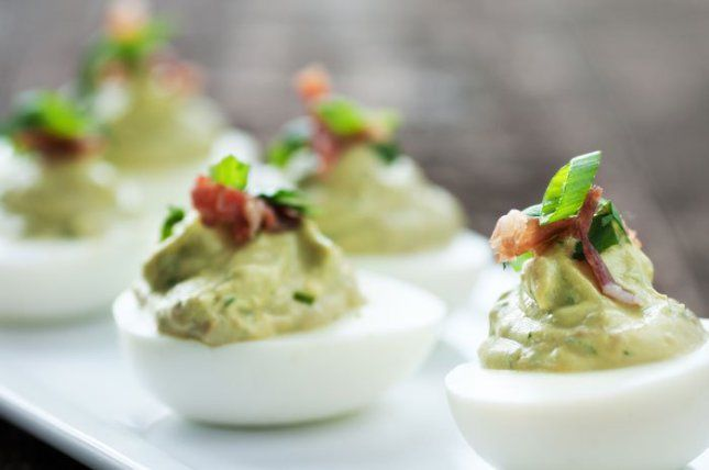 Deviled eggs variation: guacamole (avocado) >>> visit the website for more