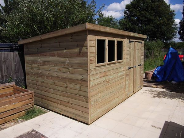 Pressure Treated 22mm Pent Shed 12 x 8
